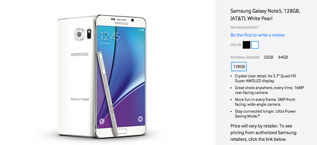 Galaxy Note 5 de 128 GB