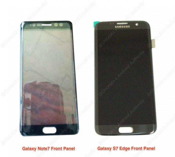 Galaxy Note 7 front panel