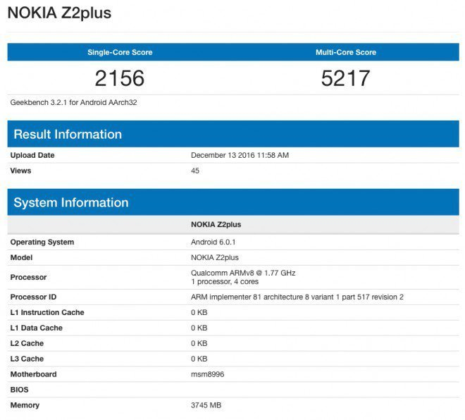 Nokia Z2 Plus: Qualcomm Snapdragon 820 + 4 GB de RAM