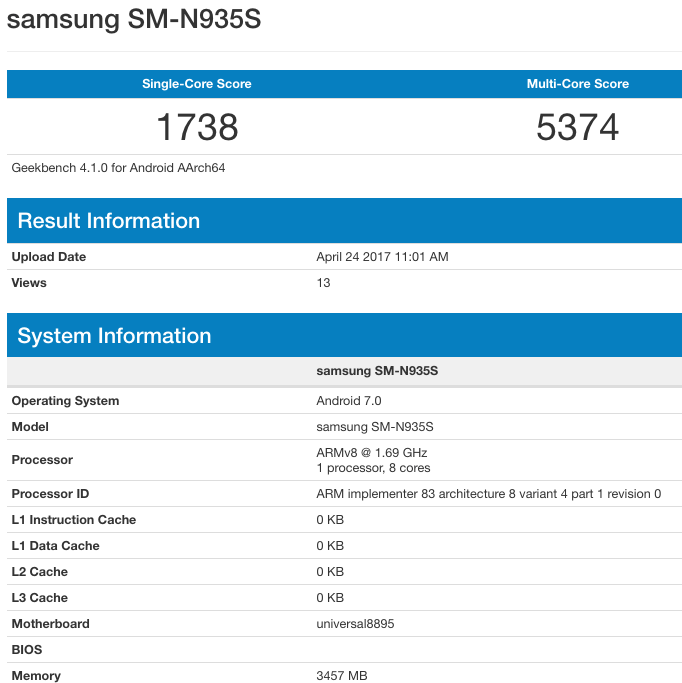 Samsung Galaxy Note 7R | SoC 8895