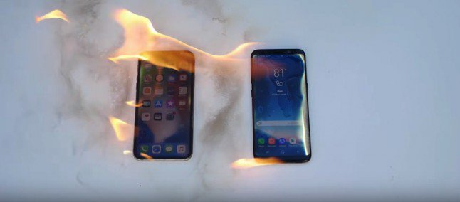 test de resistencia del Galaxy S8 y iPhone X