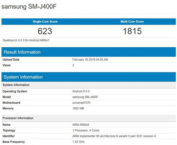 Posible Samsung Galaxy J4 ha aparecido en Geekbench