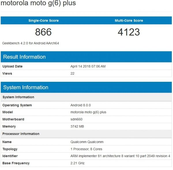 Moto G6 Plus en Geekbench