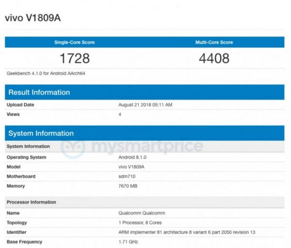Vivo X23 en Geekbench