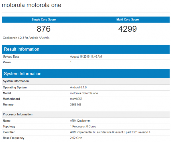 Motorola One en Geekbench